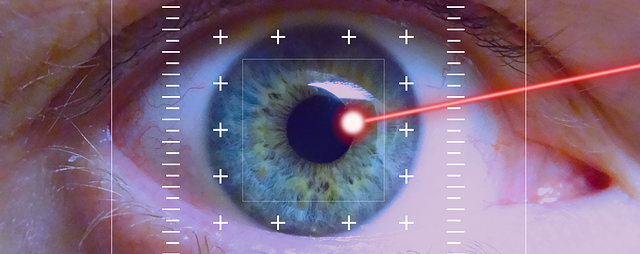 Lasik surgery on an eye to improve vision.